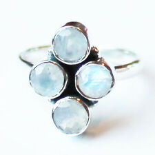 925 Solid Sterling Silver Faceted Semi-Precious Moonstone Ring - Size 7