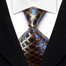 New Classic Blue Gold Checks Plaids 100%Silk Jacquard Woven Necktie Men's Tie
