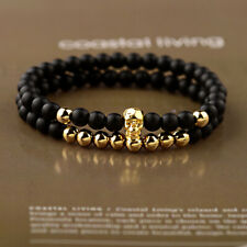 2Pcs/set Fashion Punk 4mm Onyx Matte Copper Beads Skull Men's Couple Bracelets