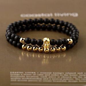 2Pcs/set Fashion Punk 4mm Onyx Matte Copper Beads Skull Men's Couple Bracelets