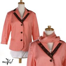 Pink Bob Makie Studio Vintage Jacket -Sequin Bead Collar - Sz 12 - w Bonus Scarf