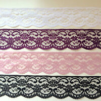 """Laces Galore' Quality NOTTINGHAM Lace Trim 2.5"" Craft WHITE BLACK IVORY PINK ++"