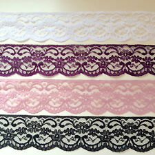 """Laces Galore' Quality NOTTINGHAM Lace Trim 2.5"" Craft WHITE BLACK IVORY PINK"