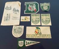 Dartmouth College 1964 Vtg 10 Pc Lot Orig Decals Indian Horse Bookstore Bag