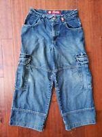 Vintage JNCO Jeans Tribals Mens 32x30 Dark Wash Cargo Loose Wide Leg