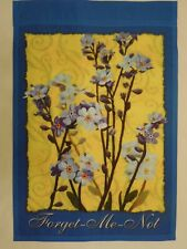 """""""Forget-Me-Not"""" White & Purple Flowers on Yellow & Blue, Summer, Garden flag"""