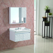 Bathroom Wall Hung Vanity Unit Storage Cabinet & Basin Sink With Mirror Cabinet