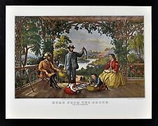 Currier & Ives Print - Home from the Brook - Lucky Fishermen with Trout  Fishing