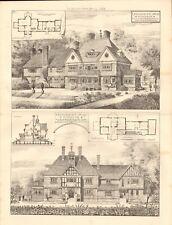 1883 ANTIQUE ARCHITECTURE, DESIGN PRINT- QUEENSMEAD COTTAGE, WINDSOR, BERKS