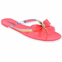 WOMENS LADIES DIAMANTE JELLY SANDALS SUMMER FLIP FLOPS TOE POST THONG SHOES SIZE