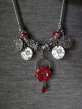Anesiidora Tribal European pendant Tibetan Silver Disc Red Flower Murano Bead