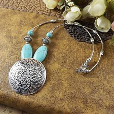 charm New Women's Fashion Tibetan silver Turquoise Round Pendant Necklace XP0008