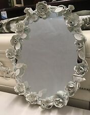 Oval Wall Mirror Double Candle Sconce Simply Shabby Chic White Metal Rose Unique
