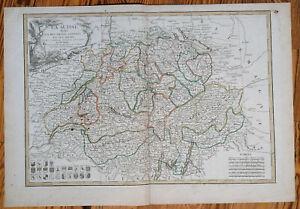 Lattre Große Original Kupferstich Karte Schweiz La Suisse - 1787