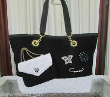 Betsey Johnson Trendy Shopper Kitsch Tote Shoulder Bag Black White Handbag NWT
