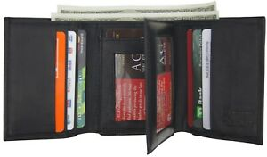 AG Wallets Men's RFID Blocking Premium Leather Classic Trifold Wallet