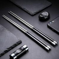 1 Pair Reusable Chopsticks Metal Korean Chinese Stainless Steel Chop Sticks