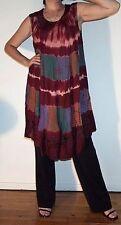 New_Hippie Gypsy Boho Tie Dye Circle Dress/Tunic_Maroon