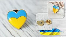 Ukraine Ukrainian National Country Flag Heart Lapel Pin Metal