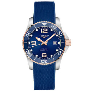 Longines 41MM Blue Ceramic HydroConquest Rose Gold Watch L37813989 AuthorizedNew