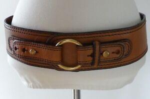 Fossil Genuine Tan Brown Leather Wide Waist Hip Belt Gold Brass Buckle M