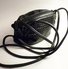 Brio Black Perforated Leather Crossbody Bag