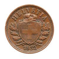 KM# 4.2a - Schon# 16 - 2 Rappen - Helvetia - Switzerland 1932B (VF)
