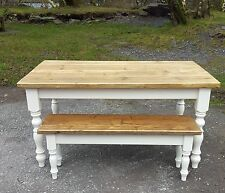 Rustic Pine shabby chic table 5ft x 3ft and 4ft  Bench