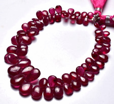 NATURAL SUPER QUALITY NATURAL PINK SAPPHIRE SMOOTH PEAR  BEADS 5 TO 11 MM 7.5""