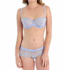 Chantelle VENDOME Lilac Blue Embroidered 1905 Demi UW Bra 32D & 1904 Shorty S
