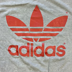 Vintage Adidas Logo Double Sided Red / Gray Medium Crewneck T-Shirt Made In USA