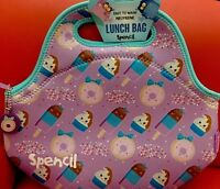 Spencil Cooler Lunch Bag Washable,School Office Picnic-icecream Donut sugar over