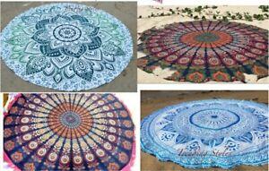 2pc Assorted Indian Boho round mandala fringes Hippie Bohemian closet  9*4 beac