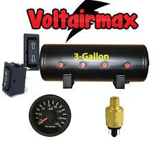 V 3 Gal Air Tank 8Port Air Ride Suspension Compressor System Gauge Press Switch