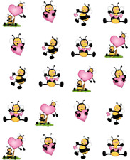 Valentine Bumble Bees Waterslide Nail Decals/Nail art