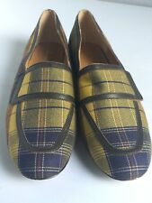 Bettye Muller Tartan Plaid Blue Rolls Flats Loafers Size 7 Leather Retail $250