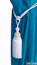 White Decorative Window Curtain Drape Wood/Tassel Rope/Cord Tie Back Holdback