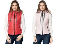 Damen Fashion Steppweste Weste Kapuze weiß rot blau pink schwarz 34 36 38 40 42