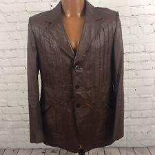 Vtg 70's Mens Leather Blazer Custom Tailored Sharon Tai Lim Seoul S Korea Brown