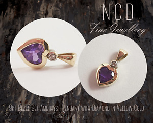 NC Designs Genuine 9kt Bezel-Set Amethyst Pendant with Diamond in Yellow Gold