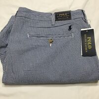 Polo Ralph Lauren Men's 38 Stretch Classic Fit Blue And White Check Shorts NWT
