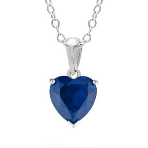 1.00 CT Heart 6MM Blue Sapphire and White Topaz Sterling Silver Pendant