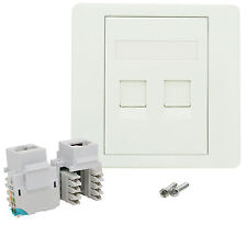RJ45 Network LAN Cat 5e 2 Port Faceplate Single Gang Wall Socket & Keystone Jack
