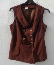 True vintage size 12-14 brown 100% polyester double breasted waistcoat