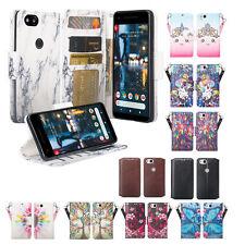 Google Pixel 2, Pixel 2 XL, Faux Leather [Kickstand & Slots] Wallet Case Cover