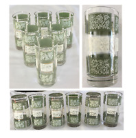 VINTAGE Mid Century Libbey Drinking Glass Tumblers 12 oz Green White Floral 6-PC