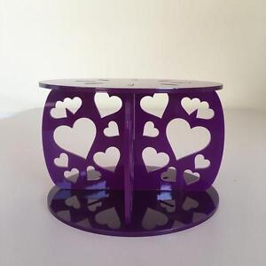 Hearts Design Round Wedding/Party Cake Separators - Purple Acrylic