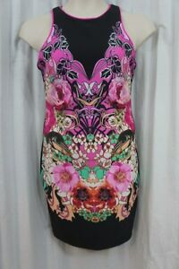 Xoxo Juniors Dress Sz M Black Pink Multi Color Sleeveless Scuba Cocktail Dress