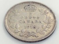 1918 Canada Five 5 Cent Small Silver Circulated Canadian George V Coin J574