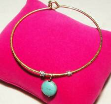 """Natural Raw Turquoise Gold Plated  Bangle/Bracelet Jewelry 7"""""""